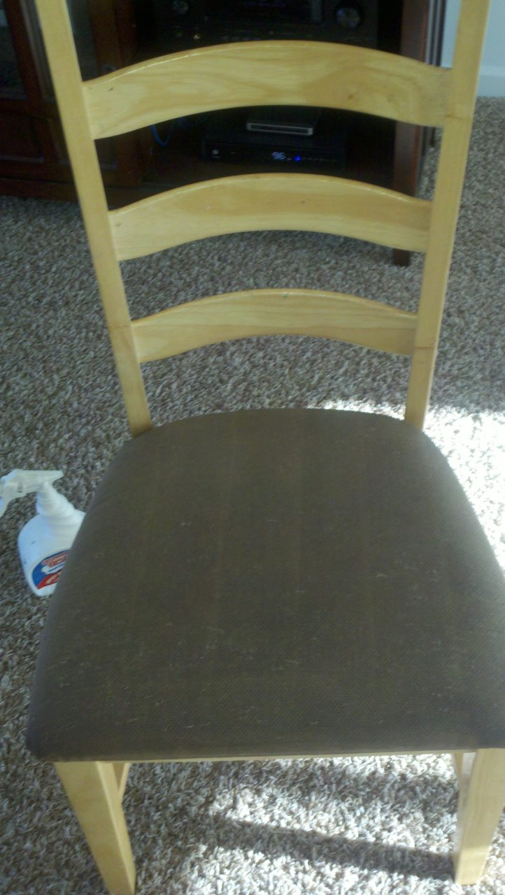 After image of a dining chair now clean.