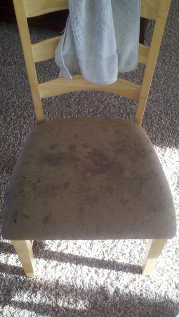 Before image of a dining chair with stains on it